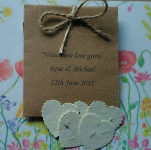 Packets of Plantable wildflower seed heart paper. Personalised with your wedding date and names. Why not add your guests name too and they can double as favours and place names.