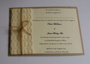 Vintage lace and twine invitation. Ivory card mounted on Kraft card. Price from £1.75