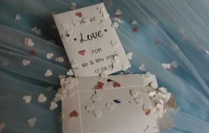 white and petal confetti