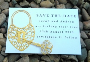 Gold love lock save the date