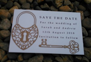 Kraft brown love lock save the date